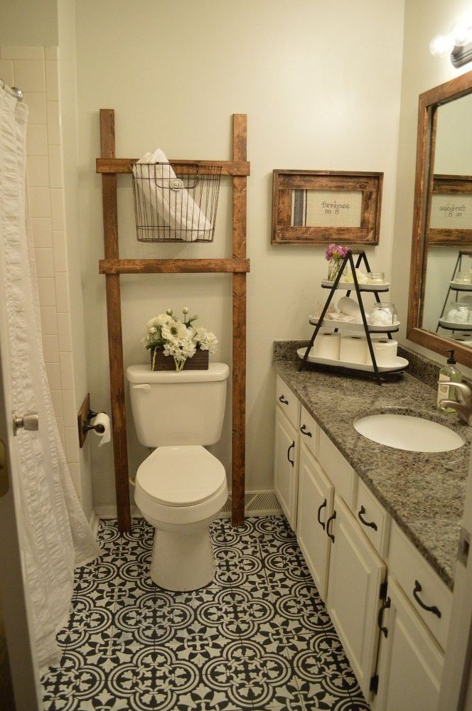 This Will Give You Joanna Gaines Style On A Crazy Low Budget I D Love To Try Something Like This In M Painted Bathroom Floors Bathroom Decor Bathroom Ladder
