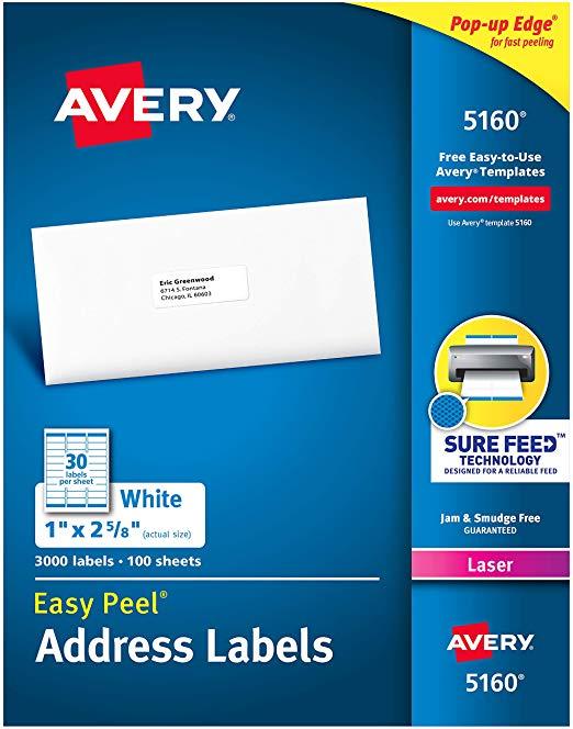 Amazon Com Avery 5160 Easy Peel Address Labels White 1 X 2 5 8 Inch 3 000 Coun Avery Address Labels Return Address Labels Template Address Label Template