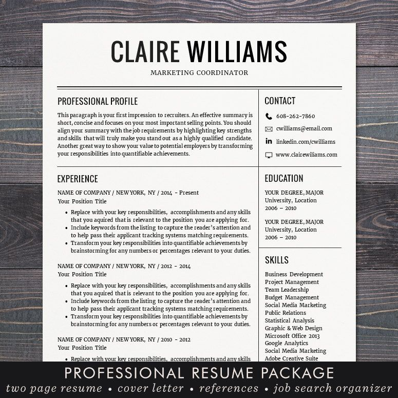 Resume \/ CV Template, Free Cover Letter, Instant Download, Mac or - free sales resume template