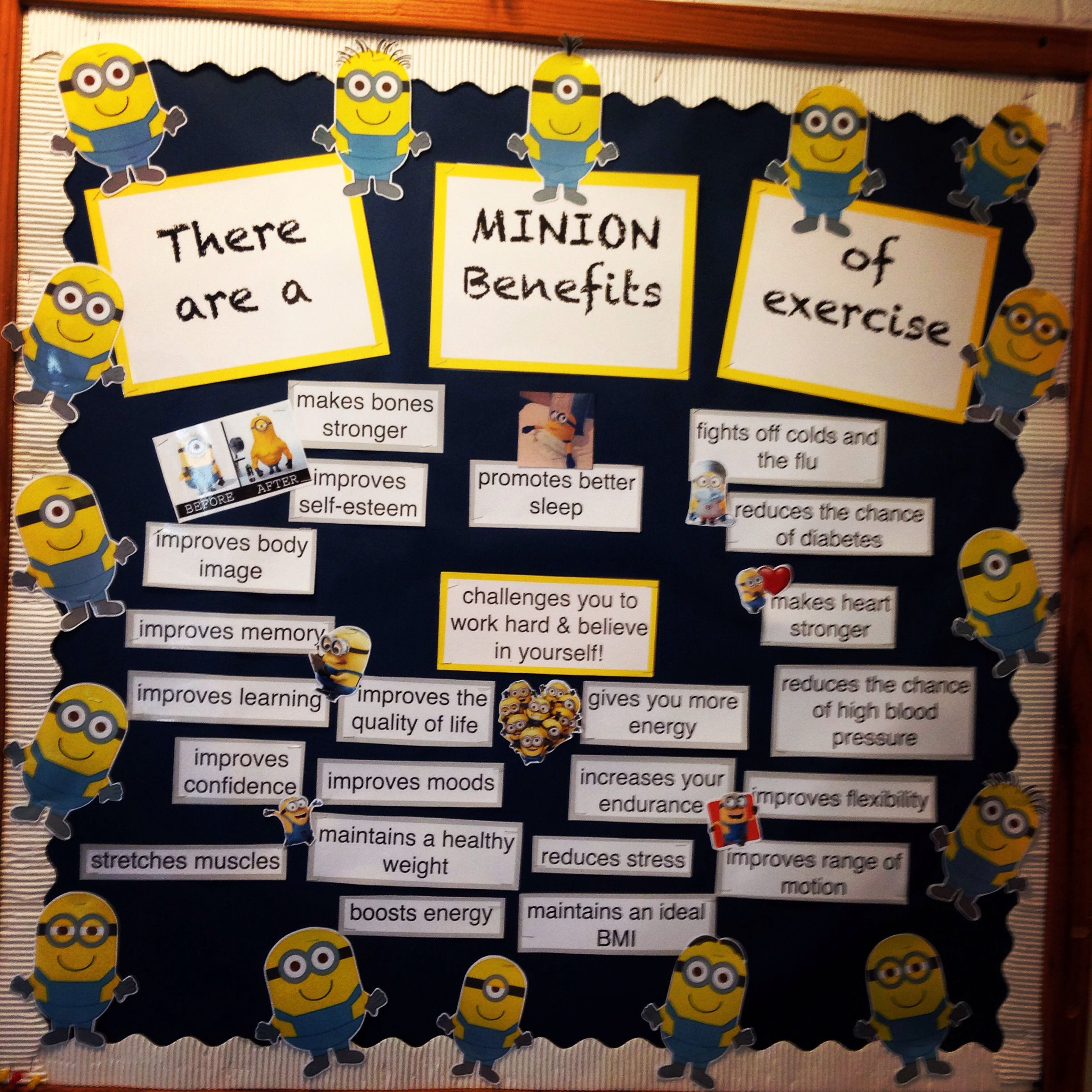 office bulletin board ideas yellow. PE Bulletin Board #minions#exercise#benefits#physicaleducation Office Ideas Yellow
