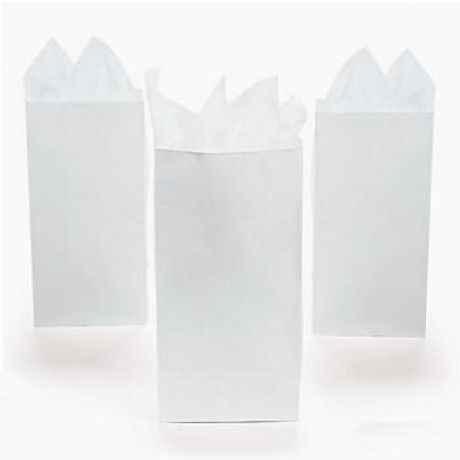 "White Mini Paper Treat Bags 6.5"" x 2.25"" x 3.5"" 