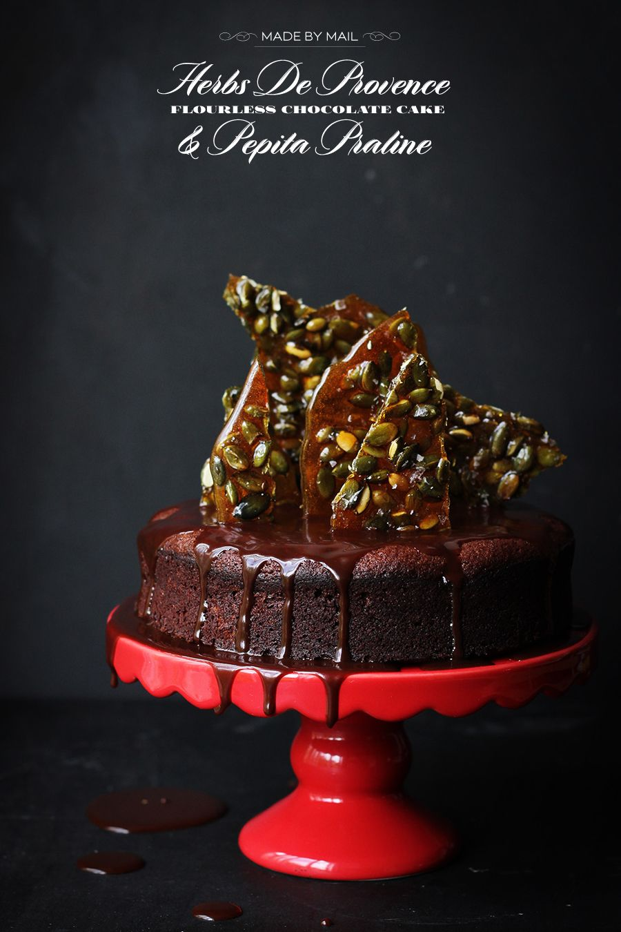 Made by Mail: Flourless Chocolate Cake with Herbs de Provence and Pepita Praline - Dine X Design
