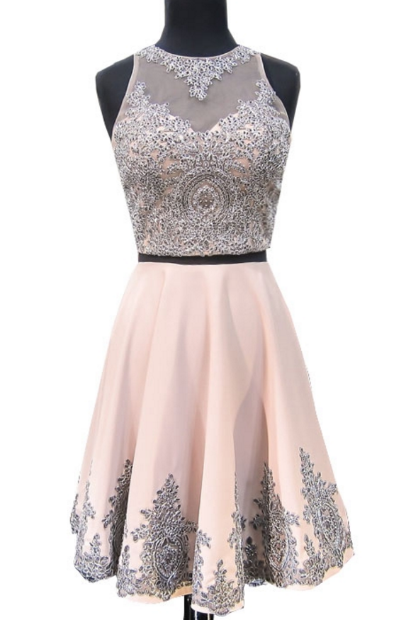 Sweet 8th Grade Prom Dress A-line Scoop Neckline Beaded Lace Short ...