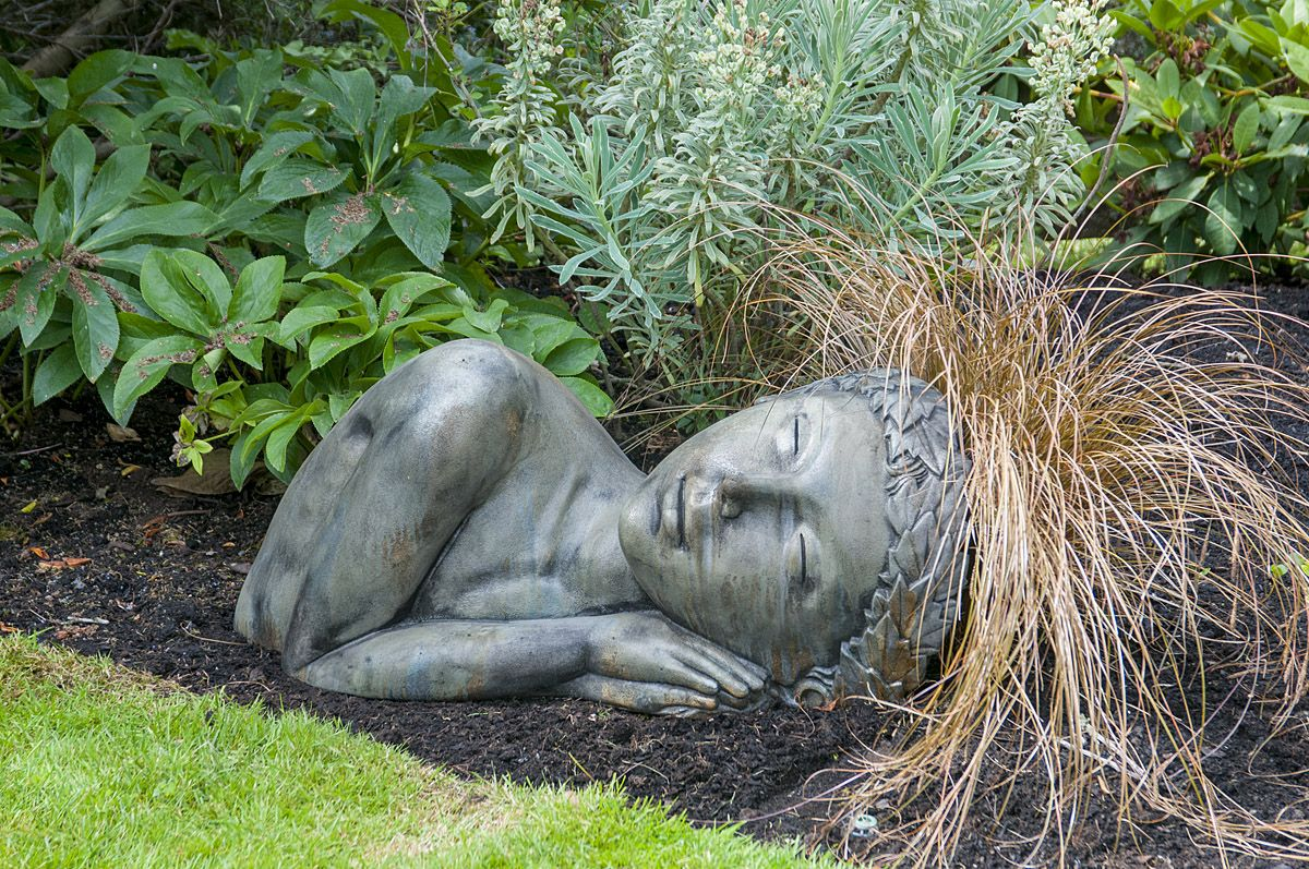 Terra Dormis Stained Ornamental Concrete Sleeping Lady For Garden Or Outdoor Patio Concrete Garden Statues