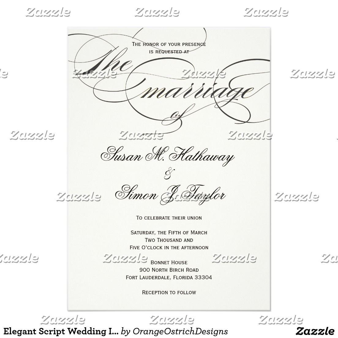 Elegant Script Wedding Invitation - BlackOff White