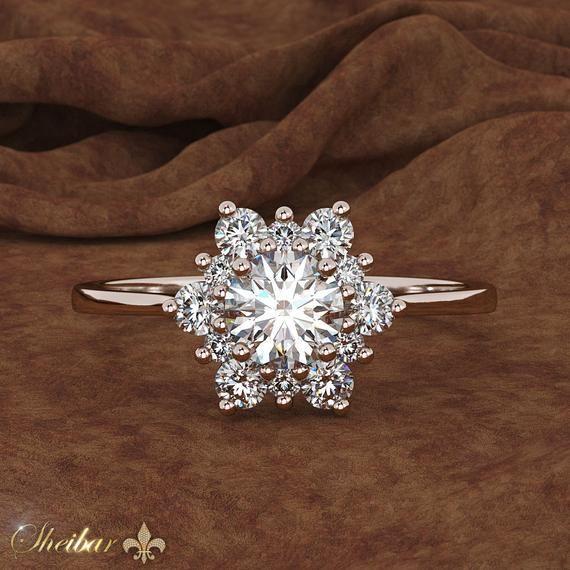snowflakes ring, vintage ring, rose gold 14k, flower design