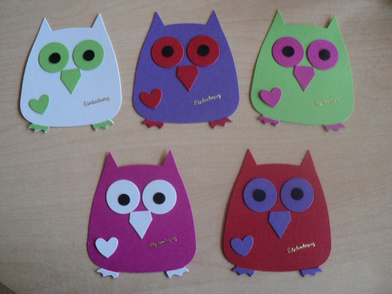 5st . einladungskarten zum kindergeburtstag-eulen, Einladungsentwurf
