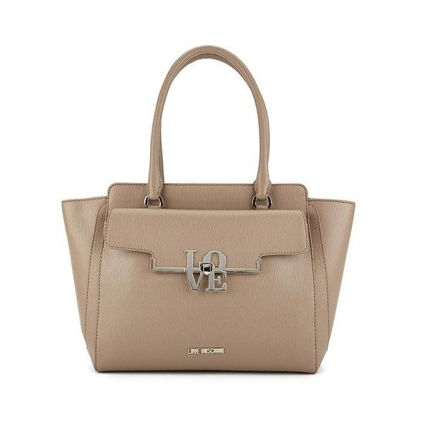 Love Moschino Women's Love Pocket Tote Bag - Taupe (€165) ❤ liked on Polyvore featuring bags, handbags, tote bags, brown handbags, pocket tote, top handle purse, taupe purse and zip top tote bag