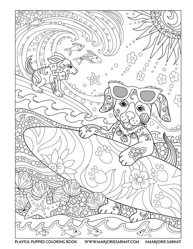 Surfer Pups Playful Puppies Coloring Book By Marjorie Sarnat Puppy Coloring Pages Animal Coloring Pages Coloring Books