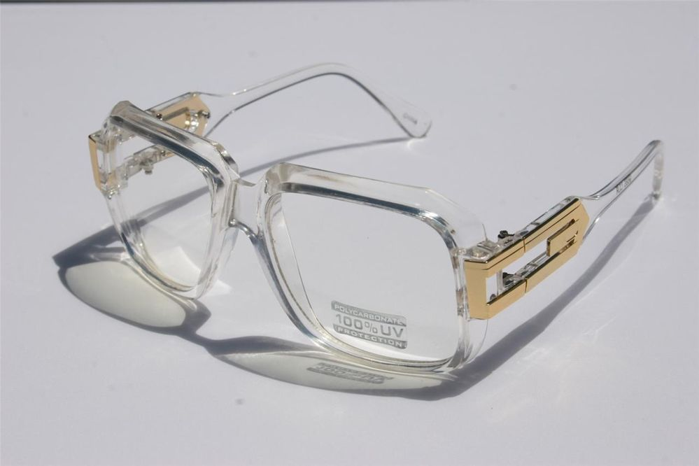 a6c65208a35 Clear frame Clear Lens Cazal Gazelle Style Sun Glasses Gold Metal Accents  Dmc