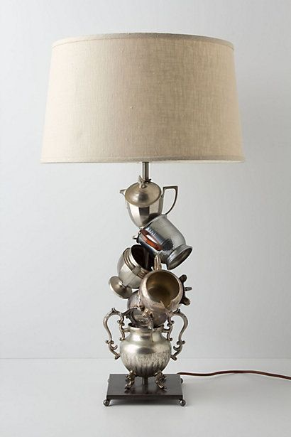 Teacup/Teapot Lamp @ Anthropologie - I've been meaning to do this DIY, but love the metallic & offkilt structure much more than what I imagined!