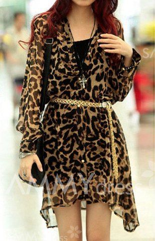 8a3f394ddab5 $8.65 Sexy Plunging Neck Leopard Print Long Sleeves Chiffon Shirt With A  Belt For Women
