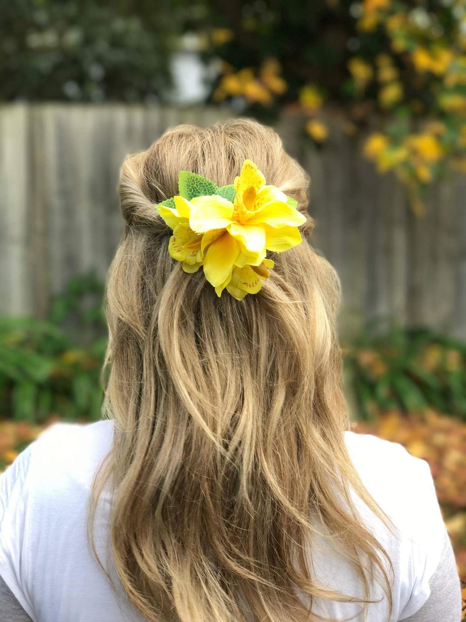 Bright Yellow Orchard Flower Hair Pin Wear This In Your Hair Half