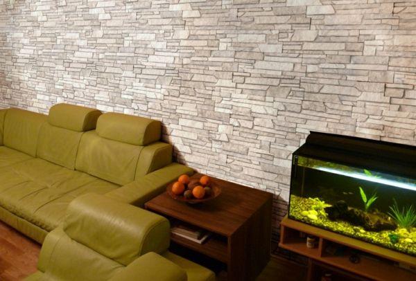 kunststein wandgestaltung gelbgrünes sofa Wandgestaltung - wandtattoo braune wand