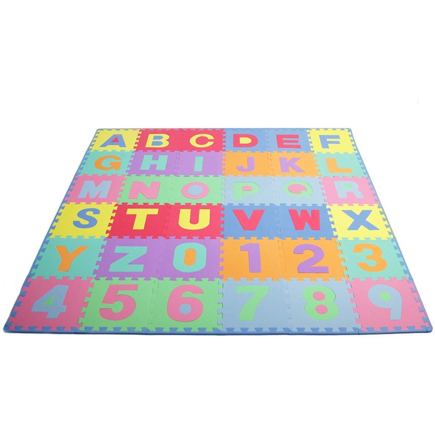 ProSource Kids Puzzle Alphabet, Numbers, 36 Tiles and