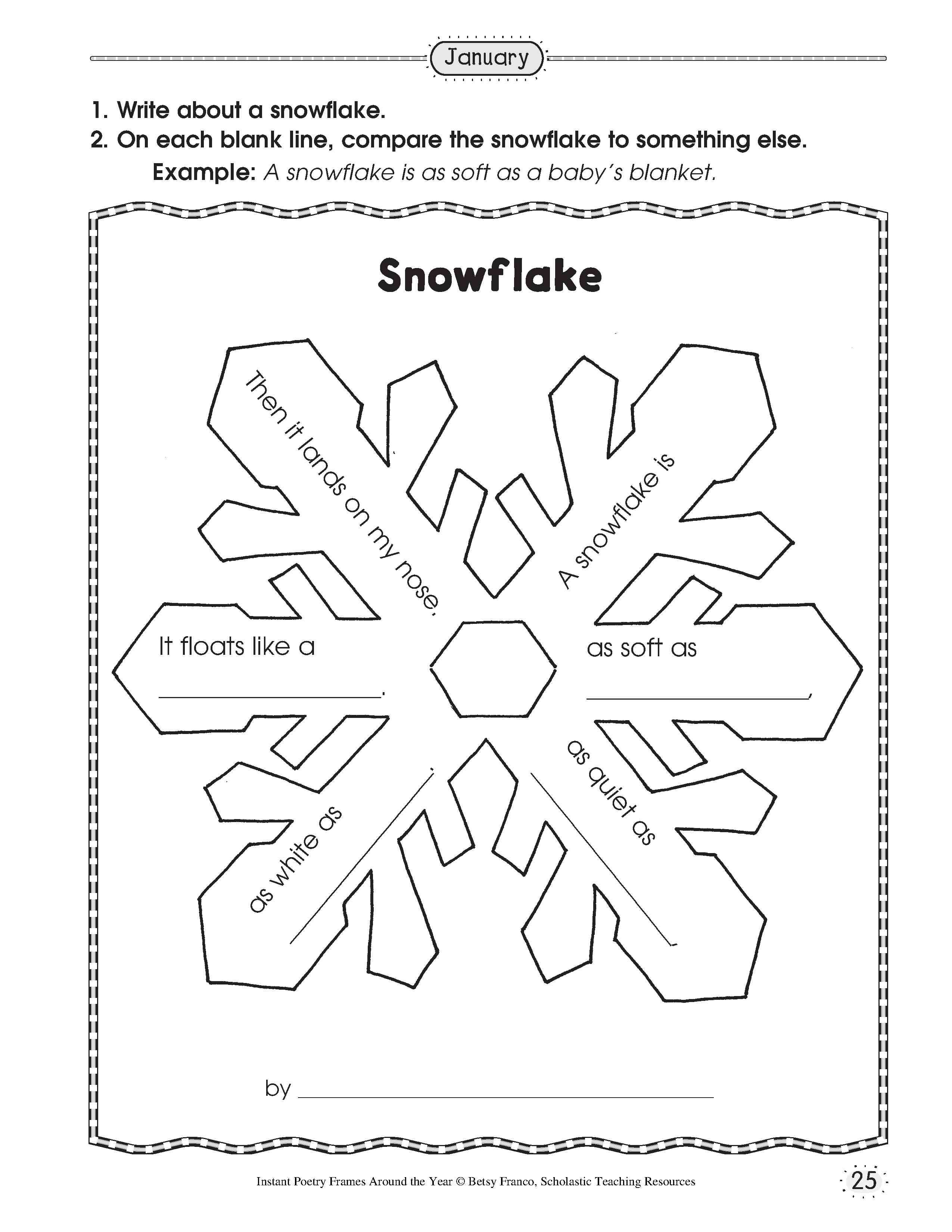worksheet Christmas Activity Worksheets simile snowflake poetry school pinterest and poetry