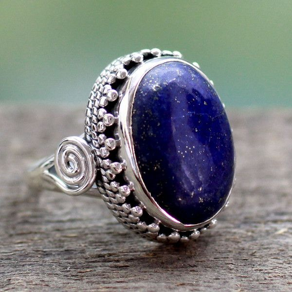 NOVICA Handcrafted Sterling Silver and Lapis Lazuli Cocktail Ring ($48) ❤ liked on Polyvore featuring jewelry, rings, lapis lazuli, single stone, lapis lazuli jewelry, handcrafted rings, sterling silver jewelry, novica jewelry and statement rings