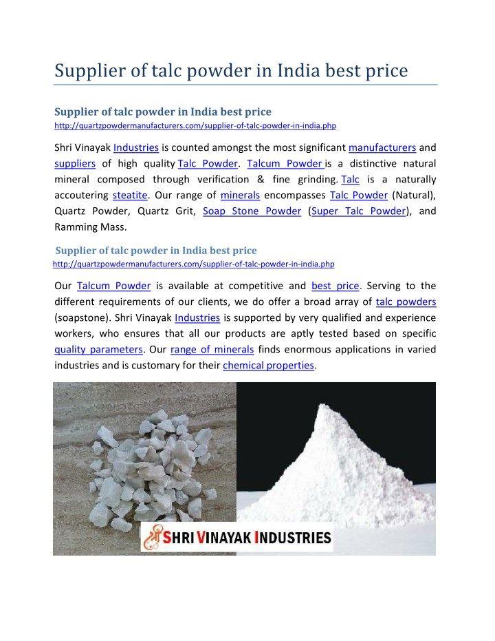 Supplier of talc powder in India best price Powder