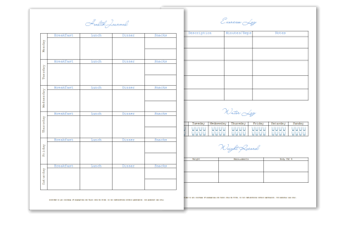 a health journal exercise log water log and weight record two sheets