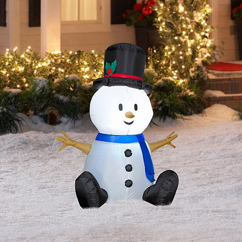 4\u0027 Tall Airblown Snowman Christmas Inflatable Christmas Decor