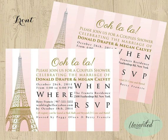 pink and gold paris theme bridal shower bridal shower wedding shower invitations invites shower paris eiffel tower striped pink