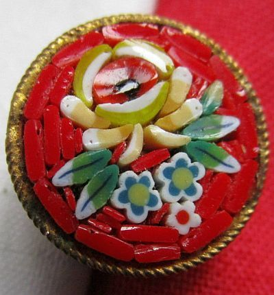 "Red Flower Micro Mosaic BM Small Button, Set in 1/8"" Deep Brass Button"