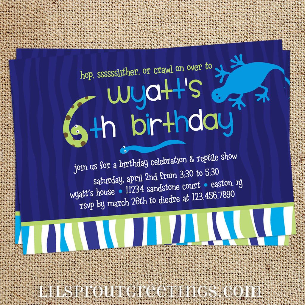 Reptile Themed Boys Birthday Invitation By Lilsproutgreetings