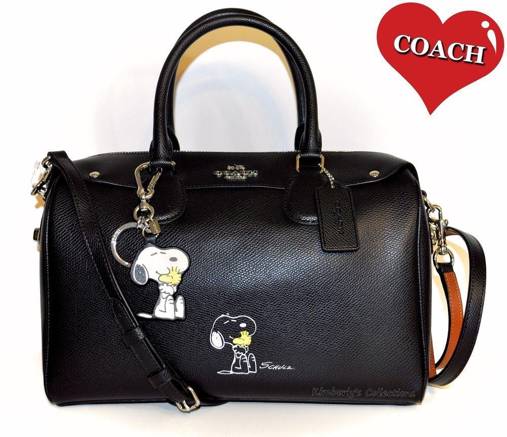 COACH X Peanuts SNOOPY Large Bennett Satchel Bag & Matching Key ...