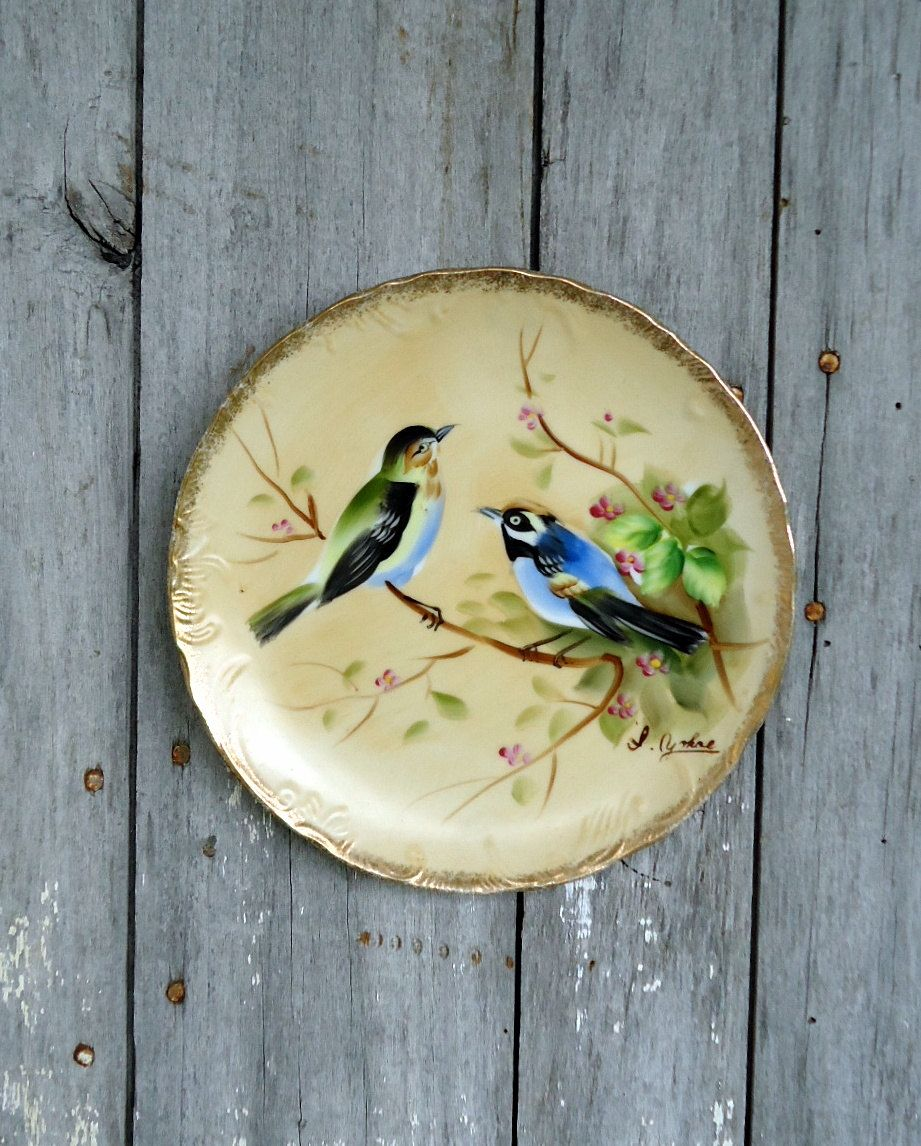 Vintage Bird Plate Decorative Japan Enesco blue green pink Gold Trim ...