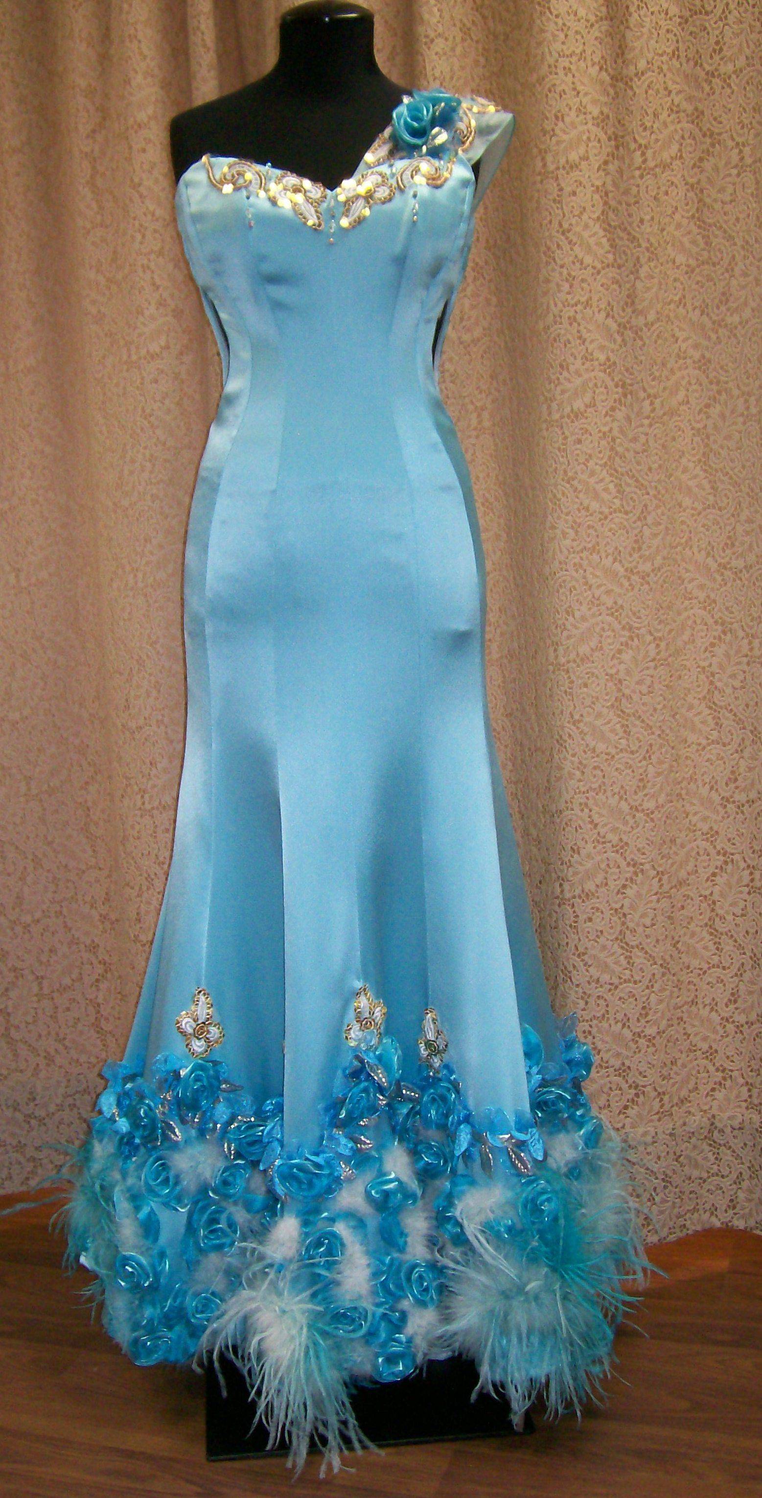 Very fancy custom design soft satin prom dress with feathered bottom