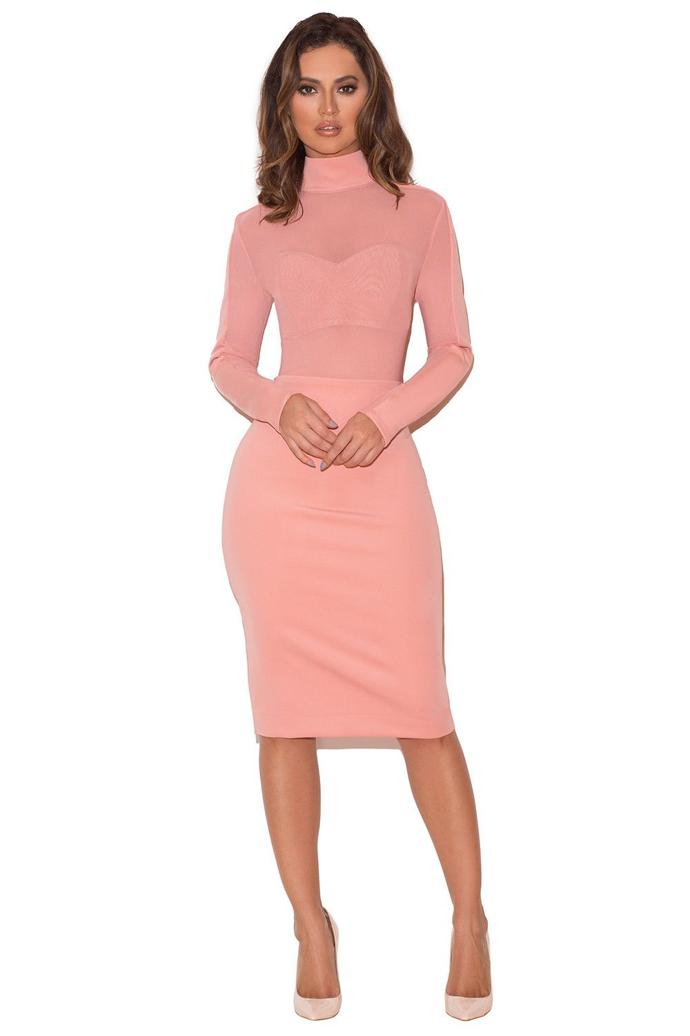 Clothing bodycon dresses usajidau pink stretch crepe jersey long