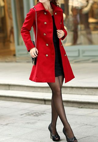 Price:$39.99 Material: Wool Color: Camel / black/ Red Shoulder epaulet double breast slim fit tunic jacket long coat