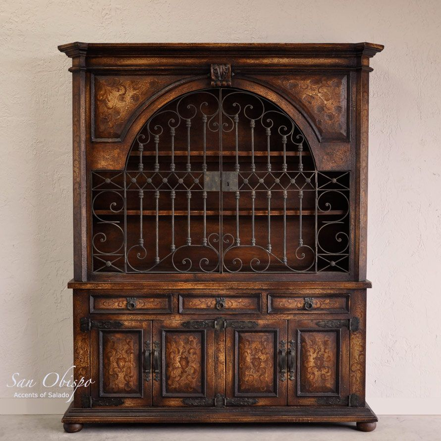 Hand Painted Hutch Armoire Media Cabinet Rustic TV Cabinet