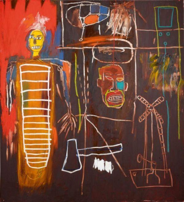 Reproduction de Basquiat, Air Power. Tableau peint à la main dans nos ateliers. Peinture à l'huile sur toile.