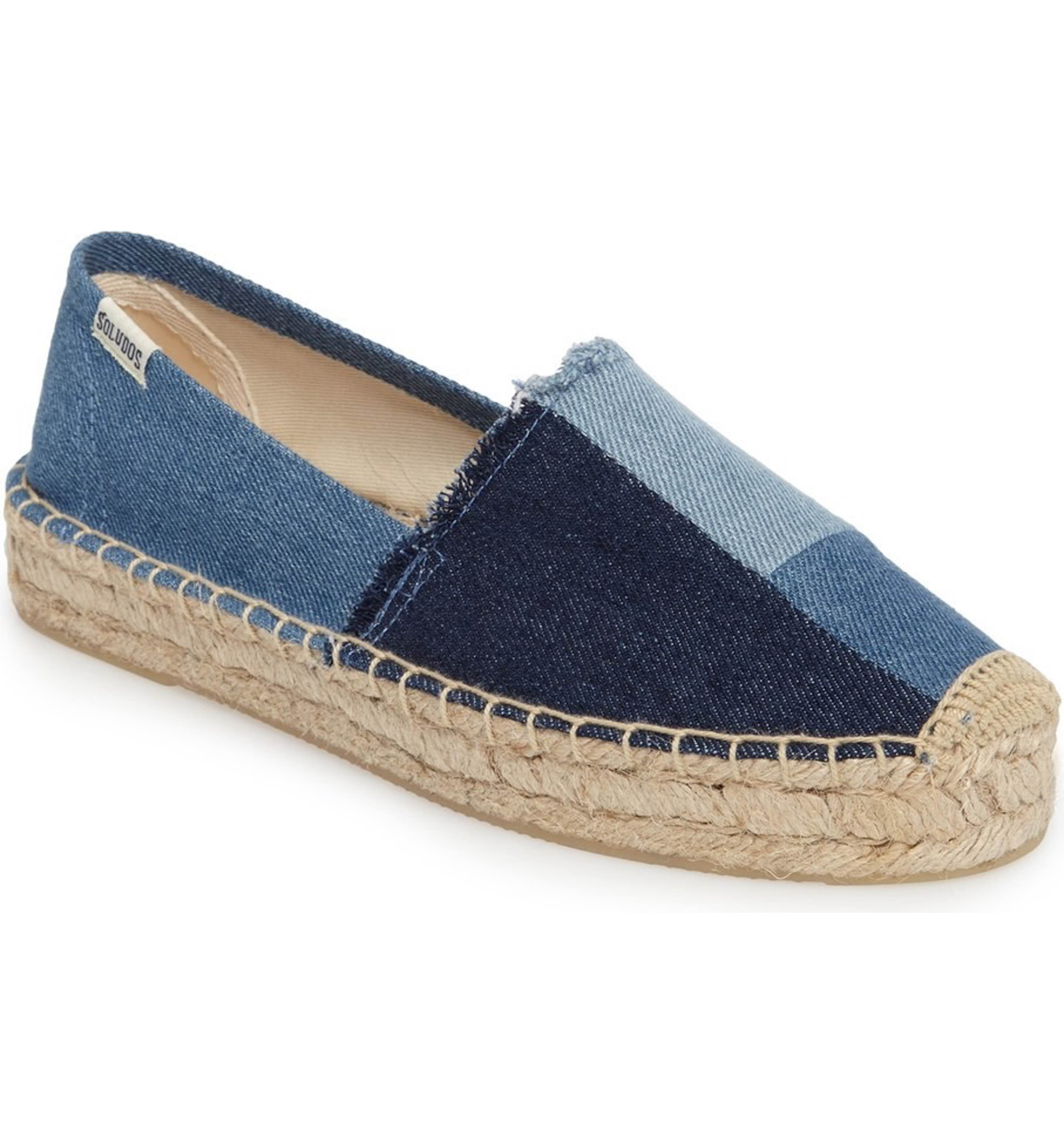 Soludos Patchwork Platform Espadrille - Patchwork denim infuses a 70's  bohemian vibe into a classic,