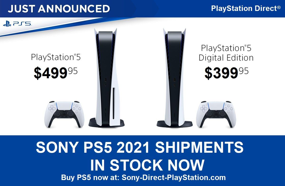 Ps5 Restock Update Ps5 Disc And Digital Console In Stock Now At Sony Playstation Direct 2 24 2021 In 2021 Playstation Consoles Japanese Video Games Playstation