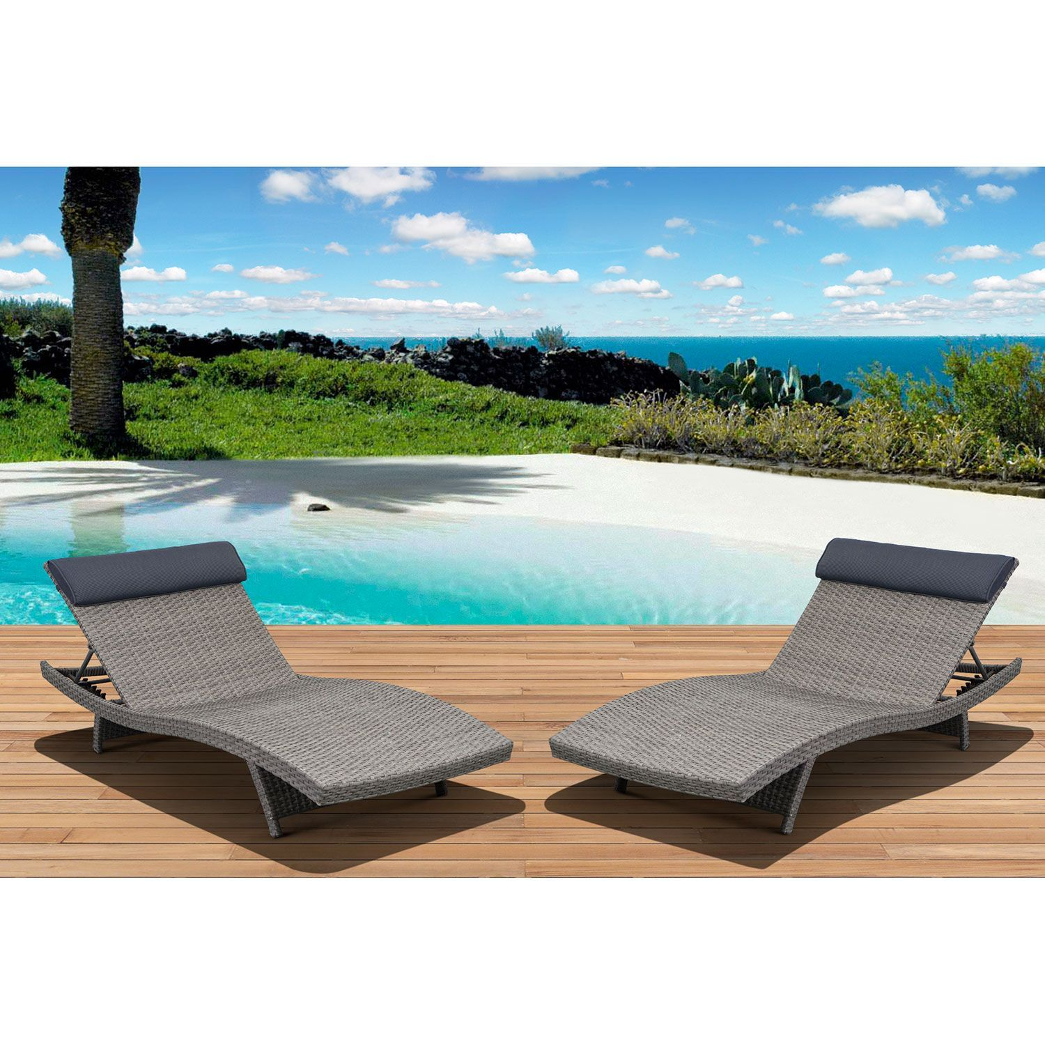 Cavalier Gray Synthetic Wicker Patio Lounge Chair With Gray Cushion (2 Pcs.)