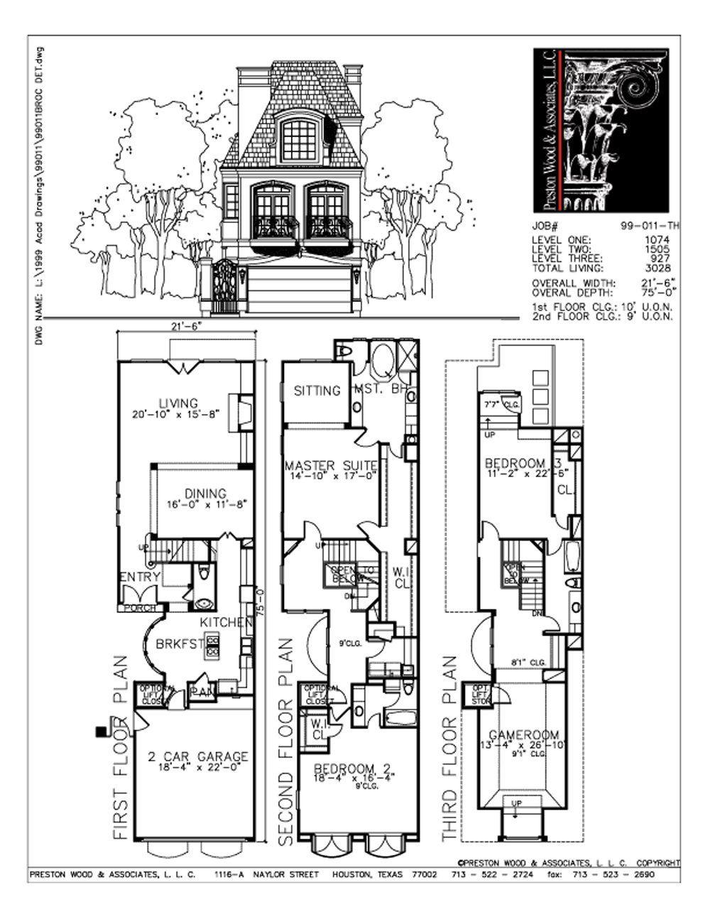 Townhouse Plan C9011 Narrow Lot House Plans Floor Plans House Floor Plans