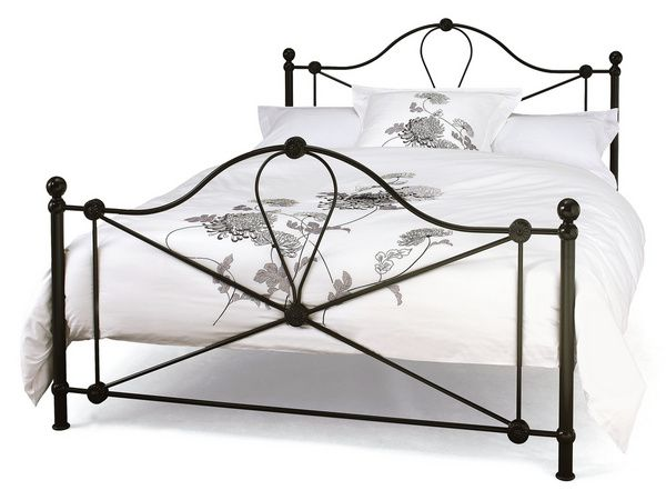 serene lyon king size black metal bed frame with thick comforters and pillow