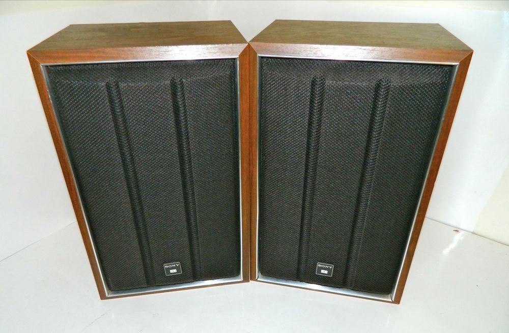 Rare Vintage Sony Bookshelf Speakers With Original Wire