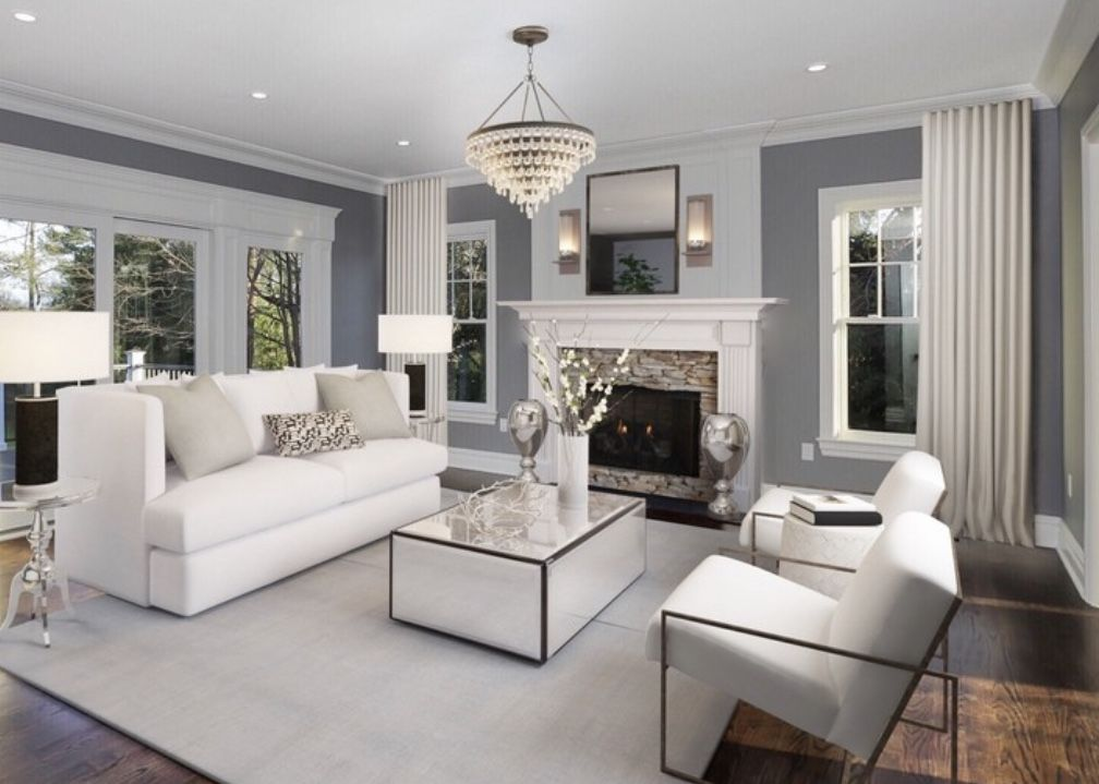 Majestic grey and white transitional living room decor ...