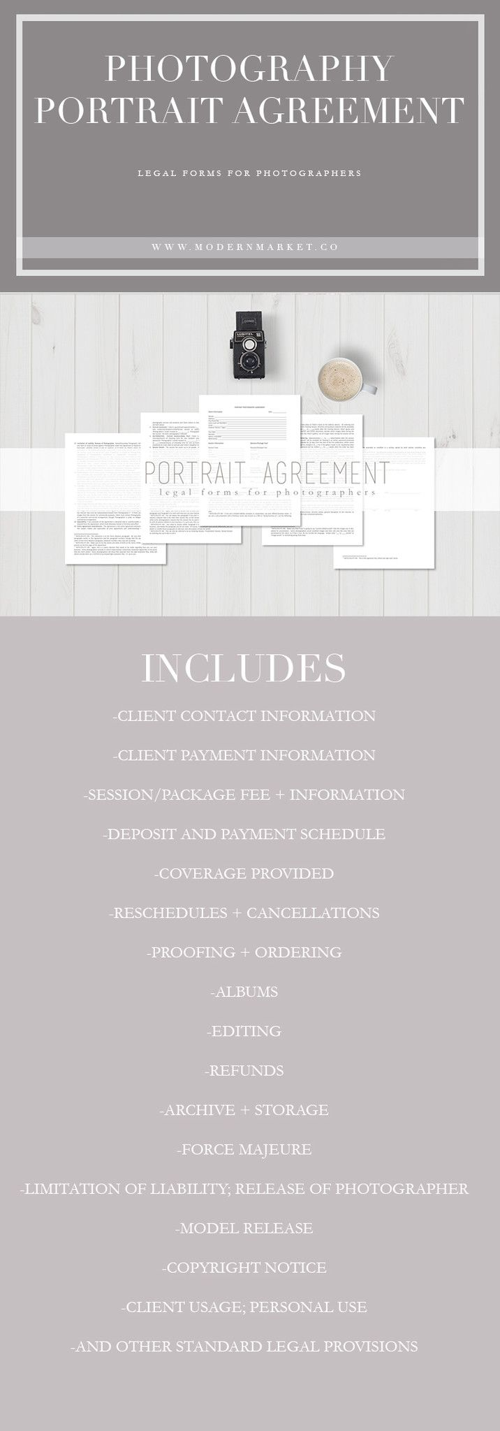 Portrait Agreement  Legal Forms For Photographers  Business