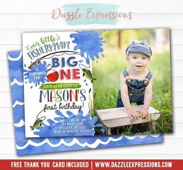 Printable Watercolor Fishing Birthday Invitation BIG ONE – The Big One Birthday Invitation