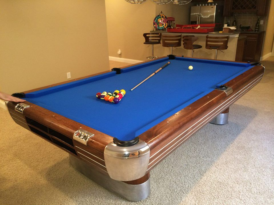 Brunswick Anniversary Pool Table With Leather Drop Pockets Walnut - Brunswick anniversary pool table for sale