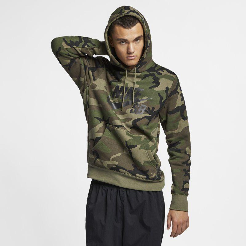 Nike SB Icon Men's Camo Skate Hoodie Olive in 2019