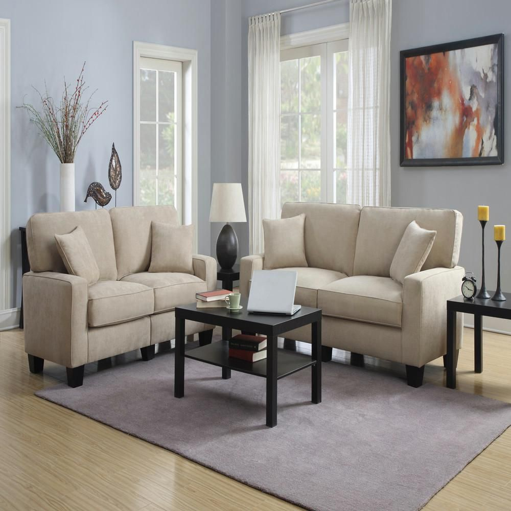 RTA Martinique Collection Polyester Fabric 61 in. Loveseat Sofa in Navarre Beige/Espresso (Navarre Beige/Brown)