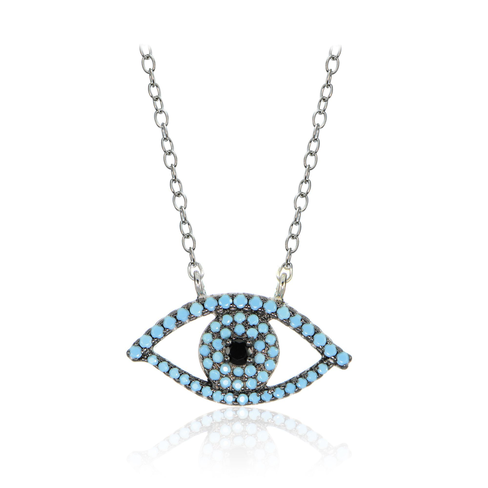 pendant real eye hamsa and stones inch products zirconia necklace silver sterling with diamond evil collections cubic