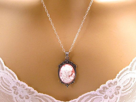Lady Peach Cameo Romantic Neoclassical Jewelry Antiqued Silver Pink Cameo: Tiny Renaissance Woman Peach Pink Cameo Necklace