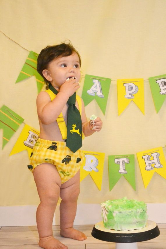 Baby Boys First Birthday Cake Smash Set John Deere
