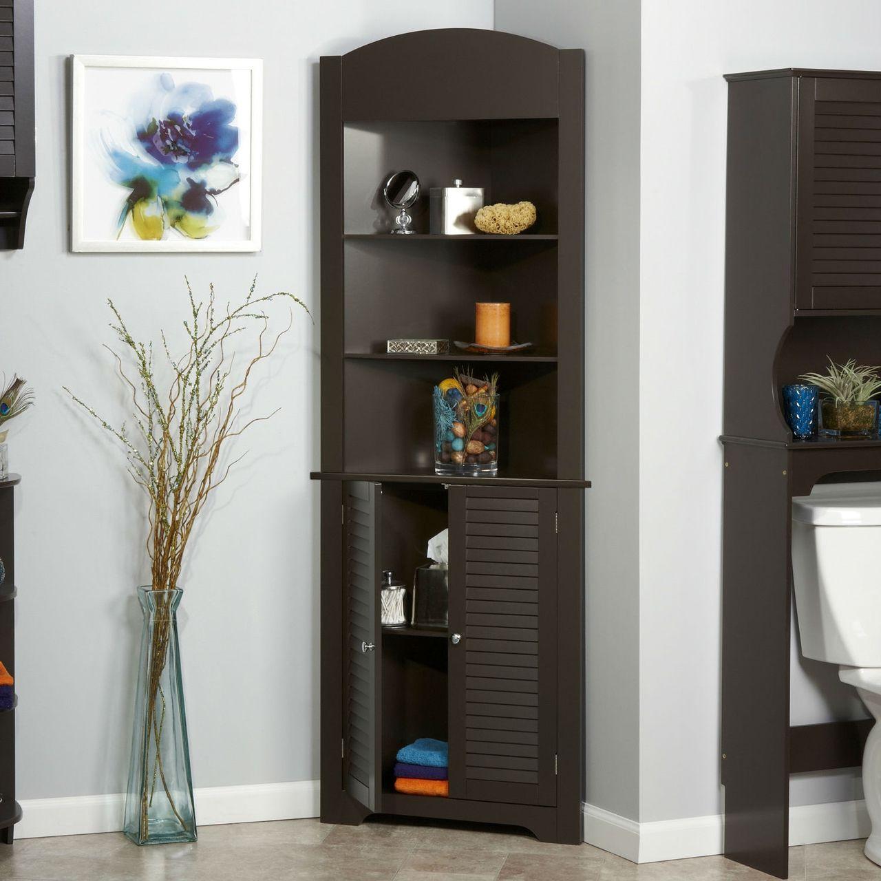 Espresso Bathroom Linen Tower Corner Towel Storage Cabinet 3 Shelves Corner Storage Cabinet Bathroom Linen Tower Corner Storage